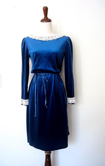 Peacock Blue Velour & Lace Dress, vintage 70s