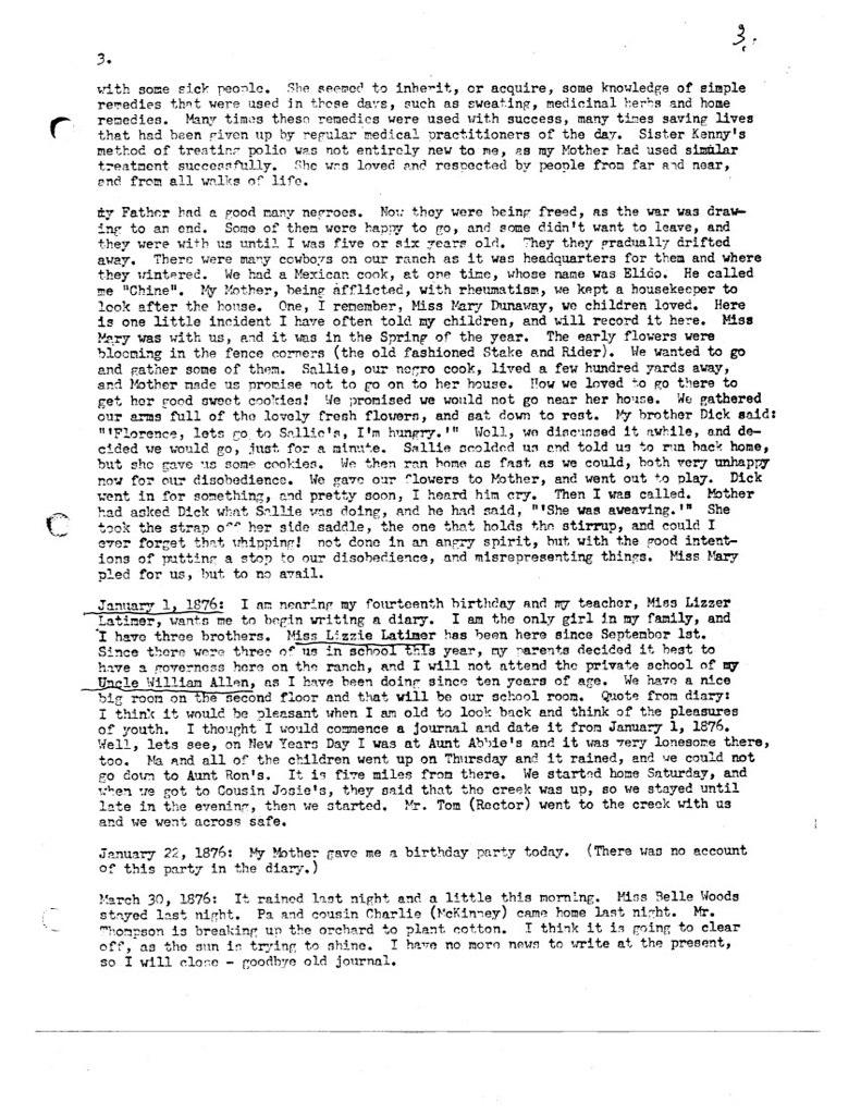 Florence McWhorter Harrington Diary - 03