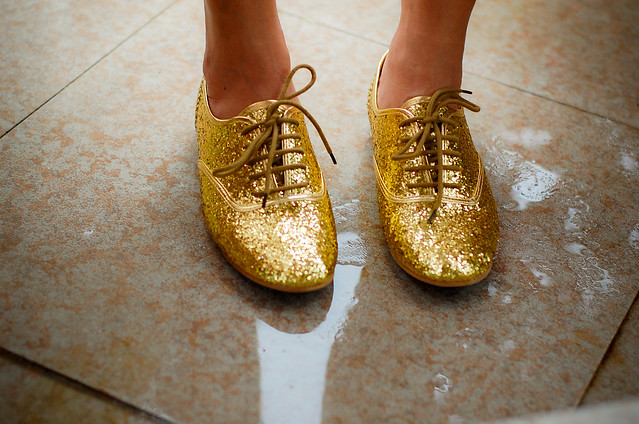 gold glittery lace up brogues