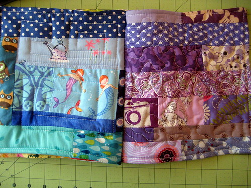Blue and purple blocks/pages - fabric baby book