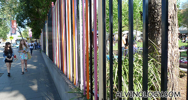 The colourful rails outside Glebe Market