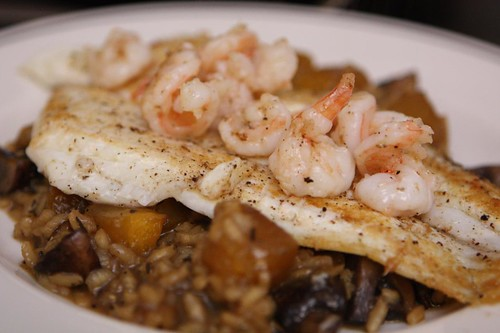 Pan Seared Fluke with Pumpkin Mushroom Risotto and Shrimp Butter Sauce