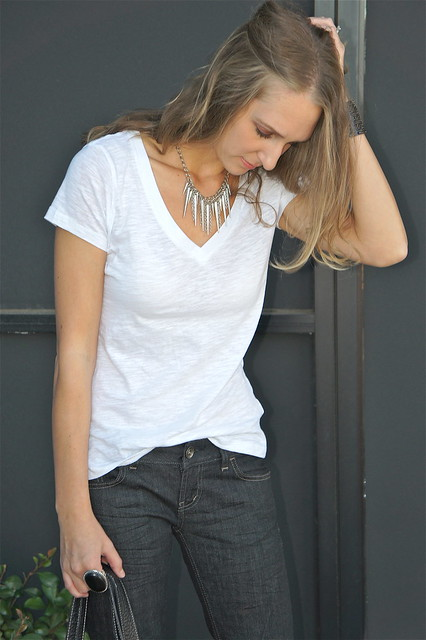Simple white t-shirt and jeans outfit