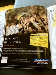 """Werbung der Sparda-Bank im BVB-Stadionmagazin """"echt"""" mit einem Vorsänger der Ultras Gelsenkirchen"""