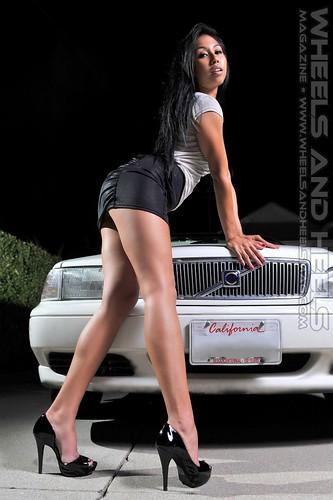 Seldom.. possible bikini car model high heels opposite. very