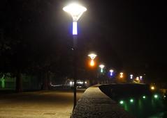 Lampioni (Luca131313) Tags: luci colori lampioni notte viale strada viola arancione verde atmosfera surreale lights colors streetlights night avenue road violet orange green atmosphere surreal bluboy131