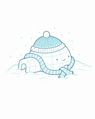 Cold Winters (randyotter) Tags: christmas blue winter white snow cold cute art ice illustration scarf fun happy design jay snowy lol aaron tshirt threadless tee artic igloo antartic randyotter
