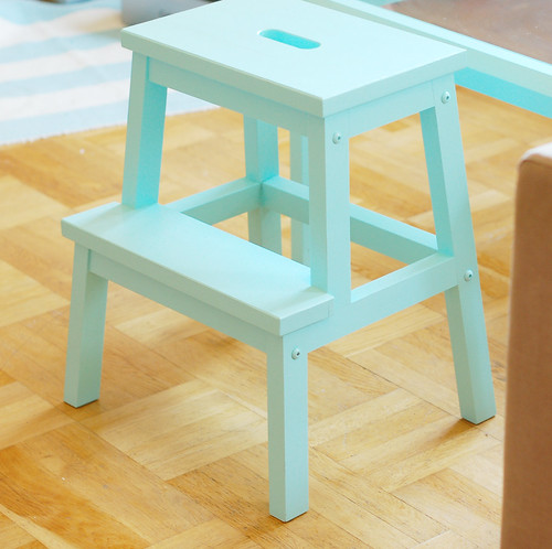 Before & after: turquoise stool