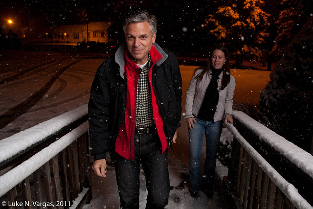Gov. Huntsman in the Snow