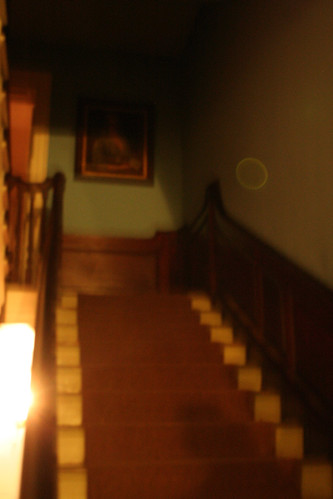 Please note the more defined yellow-greenish egg-shaped orb almost at the top of the stairs