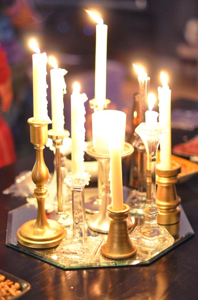 candles lit-centerpiece