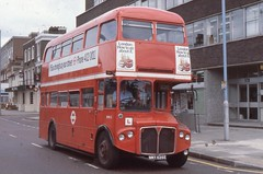 London Transport . RMA5 NMY635E . Chiswick High Road , London . 06th-June-1979 . (AndrewHA's) Tags: bus london training bea driver routemaster instruction trainer learner parkroyal londonbus londontransport aec britisheuropeanairways chiswickworks rma5 nmy635e