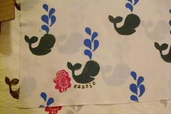 whales for cassie (imaginegnats) Tags: handmade fabric swap handprinted blockprinting onegirl