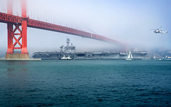 The USS Carl Vinson at the Gate (Matt Granz Photography) Tags: ocean california bridge fog wall paper photography golden bay nikon gate san francisco post pacific desk top aircraft navy picture armada class card carl nikkor uss carrier fleetweek sfist vinson nimitz 2011 d90 55200mm mattgranz