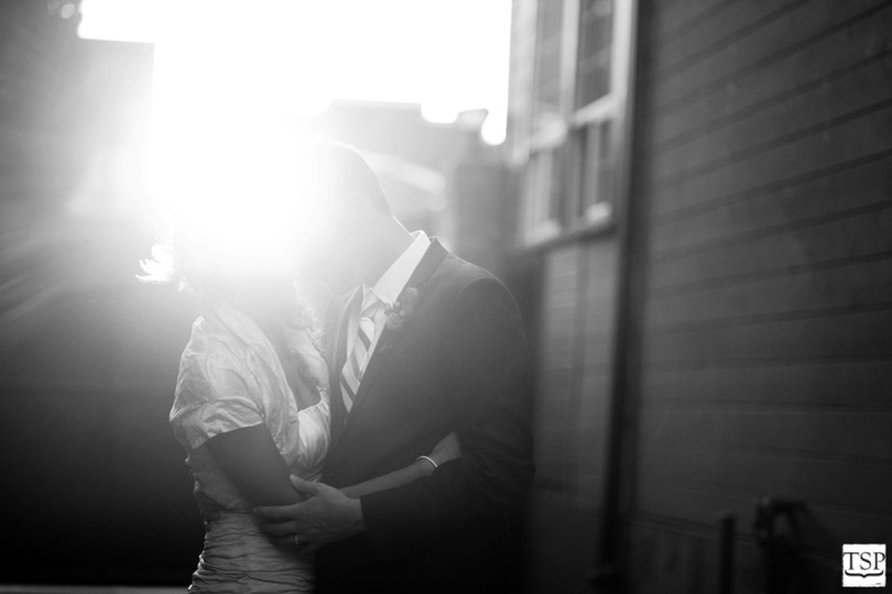 Black and White Bride and Groom at Golden Hour