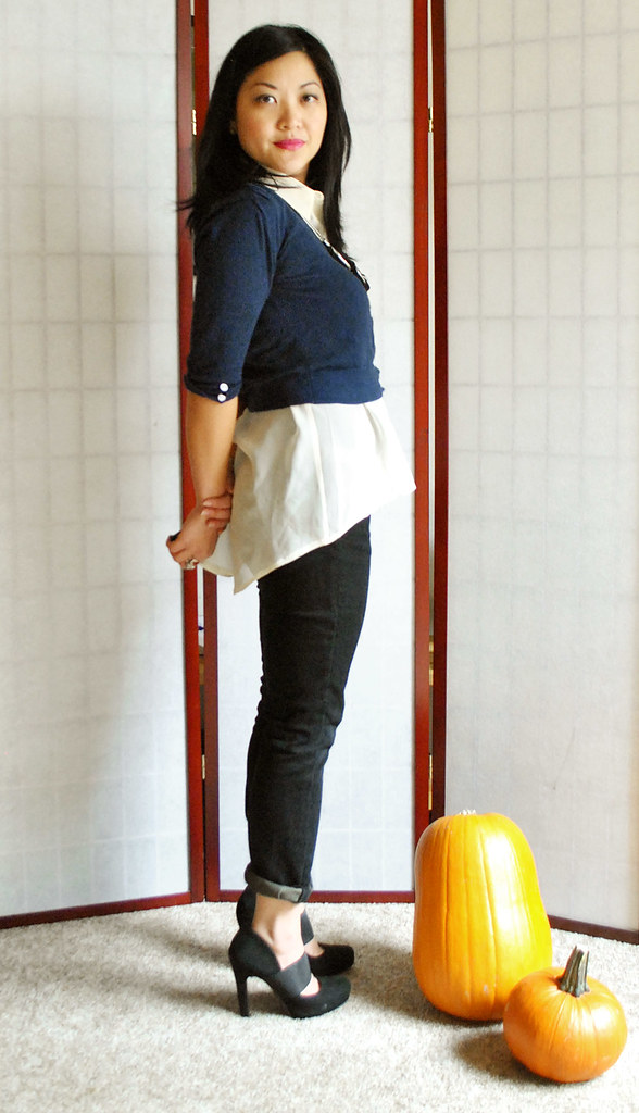 Fall Outfit - Navy Cropped Cardigan - Sheer Asymmetrical Top - Black Skinny Pants - Black Suede Pumps