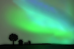 Aurora Borealis Recreated (Bhaskar Dutta) Tags: aurora auroras aurorae natural light display sky arctic antarctic high altitude atmosphere led bulb d5000 cut out paper wallpaper colour green colours art tree fence house nikon diypfav landscape wow