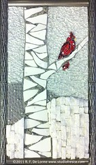 PERCH ON A BIRCH (Studio Fresca) Tags: china red white snow tree bird art forest woods cardinal recycled mosaic gray granite snowing birch quartz dishware salvaged piqueassiette temperedglass studiofresca stainedglassvitreousglass