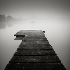 On Mill Pond (Andy Brown (mrbuk1)) Tags: bridge trees mist lake reflection water fog contrast square mono pier blackwhite wooden soft moody peace path timber jetty fineart perspective shoreline platform peaceful atmosphere calm symmetry zen weathered simple toned frontpage planks depth muted tonality