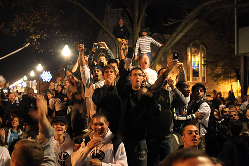 photo of students rioting at Penn State