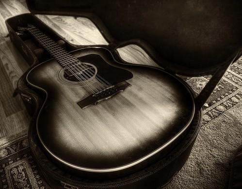 無料写真素材, 物・モノ, 楽器, ギター, モノクロ, 音楽