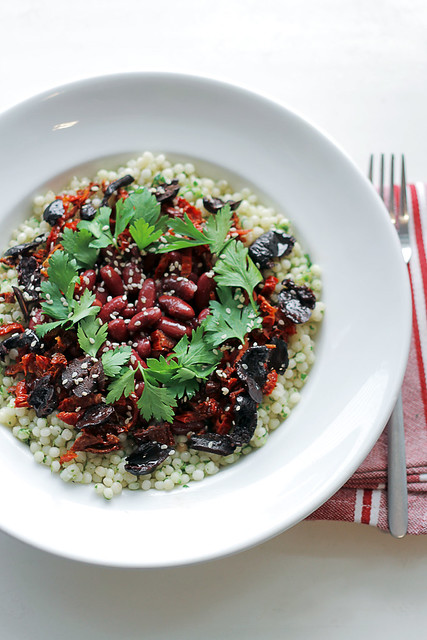 Kidney beans, sundried tomatoes and black olives Couscous