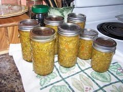 green tomato relish, canning, tomatoes, peppers