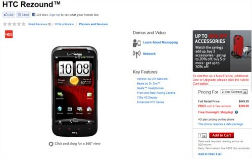HTC Rezound now available at Verizon