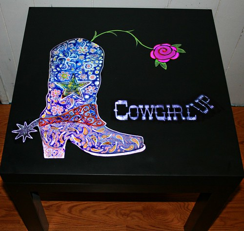 Cowgirl Up Table by Rick Cheadle Art and Designs