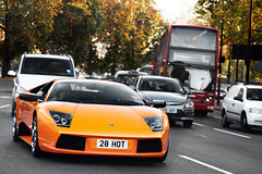 The Commute. (Alex Penfold) Tags: auto park camera orange sun hot london cars alex sports car sport mobile canon photography eos photo cool warm flickr image awesome flash low picture super spot exotic photograph lane spotted hyper 28 setting tones lamborghini supercar parklane spotting exotica sportscar sportscars supercars murcielago penfold orginal spotter 2011 hypercar 60d hypercars 28hot alexpenfold