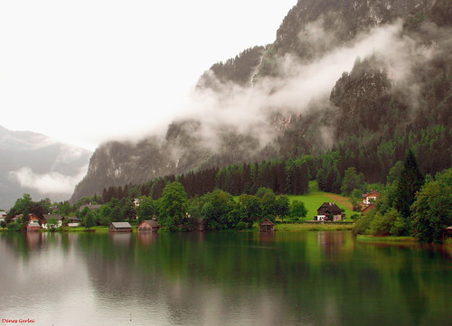 Bad weather conditions, Hallstätter See, Austria