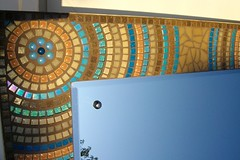 Stained glass and glass tile mosaic mirror (fiona parkes) Tags: flower glass glitter ceramic mirror leaf circles mosaics stainedglass tiles iridescent vitreous ceramictiles glasstiles hallmirror mirrormosaic stainedglassmosaic glittertile