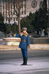 Traffic lady in winteruniform (Frhtau) Tags: street winter cars lady uniform republic traffic centre capital north police korea peoples controller democratic pyongyang dprk nordkorea
