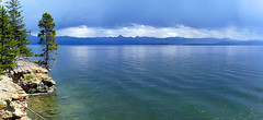 Yellowstone Lake Panorama (Michael Dowe) Tags: park sky lake storm water rock clouds canon eos rebel michael national yellowstone ripples wyoming dowe t1i