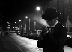 It was time. (2) (krissen) Tags: street light blackandwhite bw selfportrait monochrome evening noir cigarette smoke smoking karlstad flare gata bogart filmnoir självporträtt dicktracy cagney tobak lightingup svartvitt kväll cigarett rökning herrhagen röka humpfreybogart fotosondag twittertuesday fs111120 tändacigarett