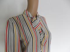 Pussy Bow (Siam Retro) Tags: shirt rainbow stripes blouse 80s secretary 1980s pussybow etsyvintageclothesretroclotheswomenladiessecondhandusedclothingthrift