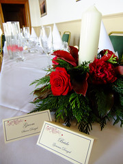 Candle Ring2 Table Centerpiece (Vicky Spence) Tags: winter wedding red flower rose berries grandprix bouquet skimmia baccara kirkleyhall