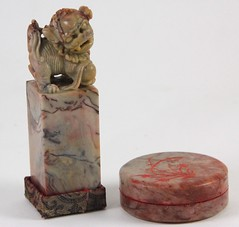 55. Carved Stone Ink Stamp and Ink Box