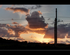 There behind the railway (B.Jansma) Tags: light sunset sky sun 3 color colour dogs nature colors beautiful set clouds canon walking back zonsondergang pretty photos shots wandelen nederland natuur wolken railway mooi behind lucht zon hdr impressive sunray spoor tegenlicht voorschoten kleuren achter 500d honden prachtig ondergang zonnen wolkendek silhouetten stralen takenwheniwaswalkingwiththedogs