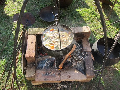 Stew cooking over the Huscarls' fire
