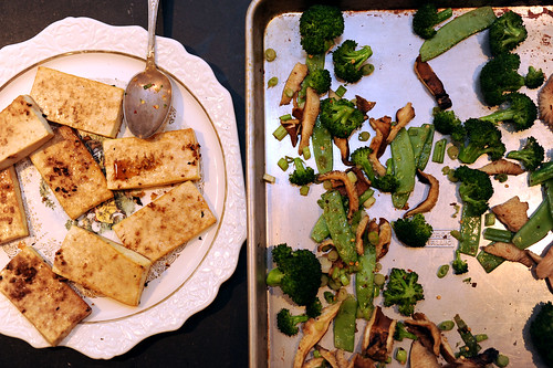 broiled tofu with snowpeas, broccoli and shitake