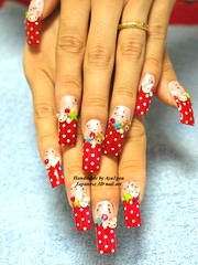 Polka dots long nails with 3D art (aya1gou) Tags: japan nails kawaii unhas glitters gyaru ongles gelnails  uvgel japanesemanicure holidaynailart