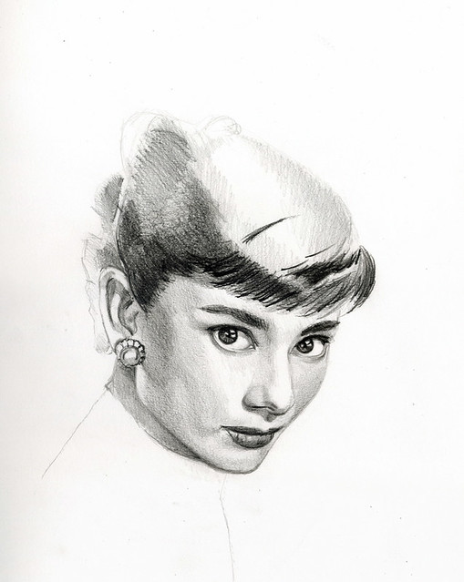 pencil drawing  Audrey Herpburn 3.