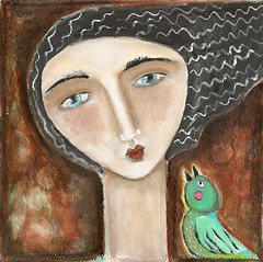 Singing Bird    (sold) (kitty jujube) Tags: bird modern lady painting singing folk outsider contemporary canvas josef naive whimsical acrylicpaint hankyou