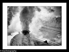 Explosive... (4macfotography) Tags: light chimney sun wet yard blackwhite track power dynamic smoke shed engine highlights dirty steam rails locomotive slack coal explosive exhaust 73050 daarklands 1001nightsmagiccity