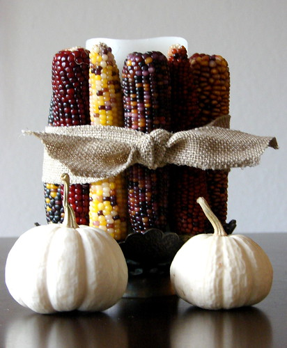 Indian Corn Candle Centerpiece