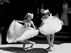 Joyce Smith, of Undercliffe, and Jacqueline Farrar, of Marrickville, place-getters in toe dancing, at the R. & T. Eisteddfod, Railway Institute, Sydney, 30 November 1934 / photographer Sam Hood