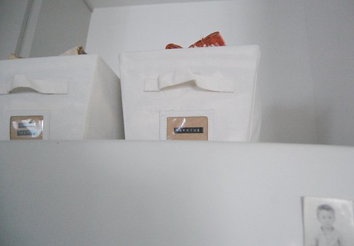 canvas bins keep table linens tidy