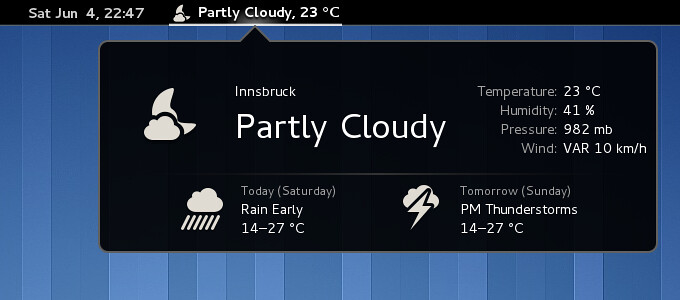 gnome weather extension