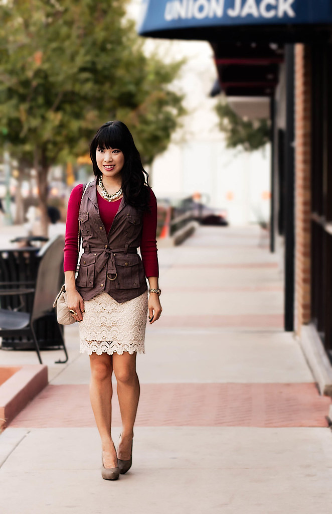 windsor store dried berry cargo vest, express red v-neck knit top, lulus national lace cream skirt, mk5430, forever 21 olive stilettos, romwe ysl arty street style gem ring, yesstyle beige quilted chanel flap purse, forever 21 bling necklace